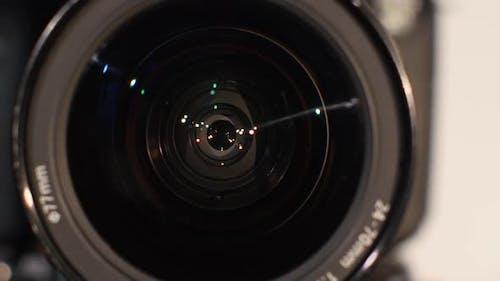 Diaphragm of a Camera Lens Aperture, Close Up, Open