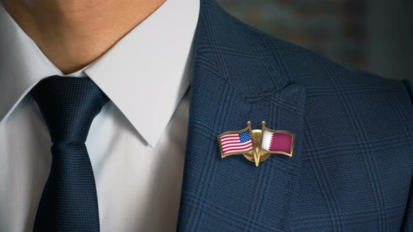 Thumbnail for Businessman Friend Flags Pin United States Of America Qatar