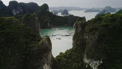 Aerial view of Halong Bay in Vietnam