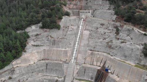 Hydro pipe is supplying hydroelectric power station. Energy Concept