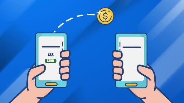 Money Transfer mobile banking animation