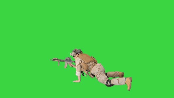 Thumbnail for Soldier Taking Lying Position and Aiming at a Target From Automatic Weapon on a Green Screen, Chroma