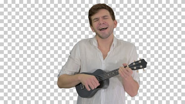 Thumbnail for Man with ukulele singing a song, Alpha Channel