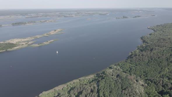 Thumbnail for Dnipro River. Aerial View. Landmark of Ukraine, Flat, Gray