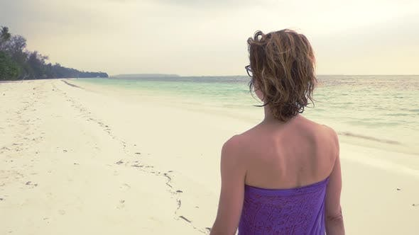 Thumbnail for Slow Motion: Woman Walking on White Sand Beach Turquoise Water Tropical Coastline