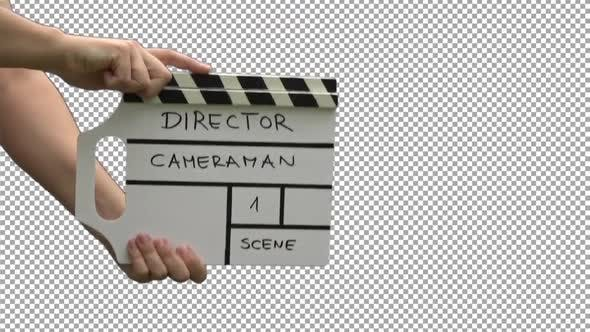 Thumbnail for Hands With Movie Production Clapper Board With Alpha