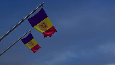 Andorra Flags In The Blue Sky-4K