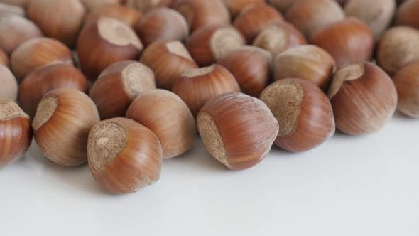 Thumbnail for Pile of  Corylus avellana nuts close-up 4K 2160p 30fps UltraHD footage - Organic  hazelnuts on white