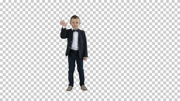 Thumbnail for Boy in a suit greeting you Walks in and out, Alpha Channel