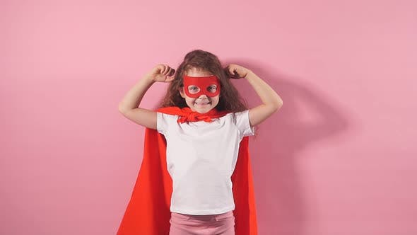 Strong Little Girl in Superhero Suit