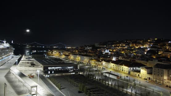 Thumbnail for Aerial View. Lisbon Portugal Night Cityscape City Centre View Aerial Panorama, Timelapse