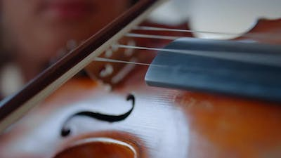 Closeup Young Woman Hand Playing Violin. Teenage Girl Using Violin Bow