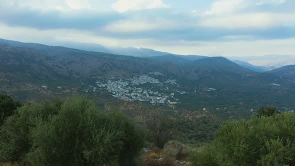 Thumbnail for An Aerial View of the Small Village of Crete. Beautiful Landscapes of Greece From the Air. Crete