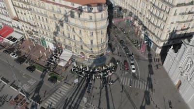 A shadow of a Marseille Ferris wheel