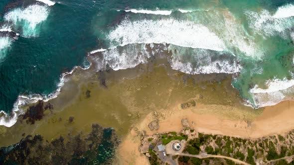 Thumbnail for Waves Crashing on Coast - Aerial View
