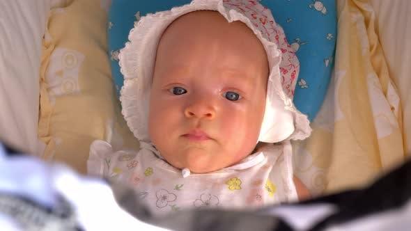 Portrait of Baby Girl in Stroller