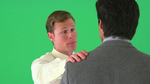 Businessman giving praise on greenscreen