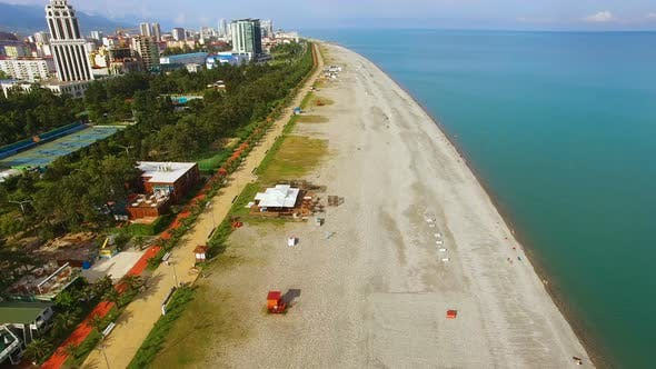 Thumbnail for Beach Line in Batumi Georgia, Popular Tourist Destination, Summertime Holidays