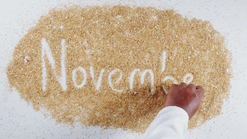 Hand Writing On Beach Sand November