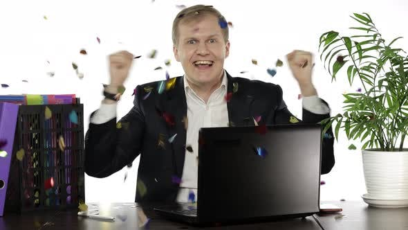 Thumbnail for Businessman Winning Deal Online Enjoying Victory Celebrating. Confetti Rain