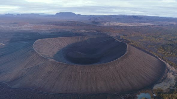 Thumbnail for Aerial View Of Volcano Crater In Iceland