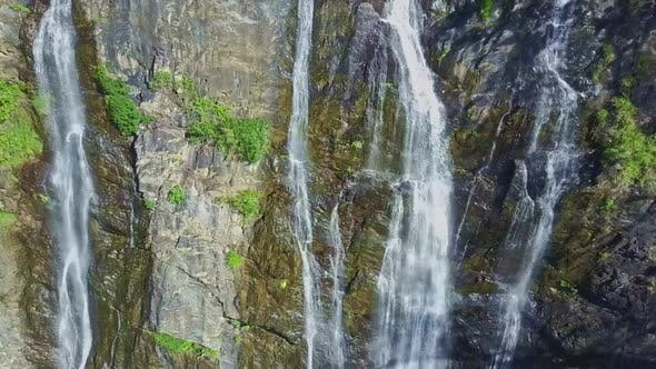 Thumbnail for Flycam Approaches Close To Waterfall Cascade Streams