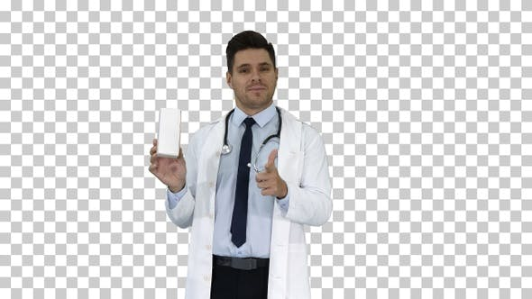 Thumbnail for Mature doctor in whitecoat describing new pills in box Alpha