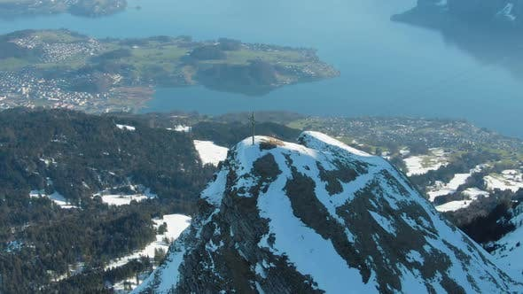 Thumbnail for Cross on Top of Mountain and Lake Lucerne. Swiss Alps, Switzerland. Aerial View
