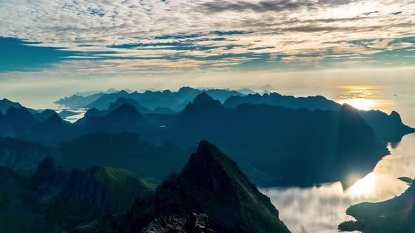 Timelapse of Floating Clouds Above Norway Islands and Mountains