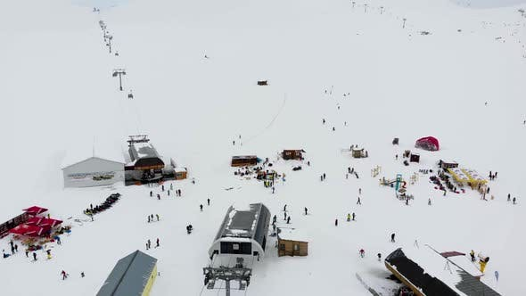 Thumbnail for Drone Motion of Winter Ski Resort in Mountains.