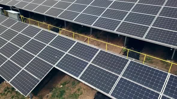 Aerial view of Solar panels. Photovoltaic power supply systems. Solar power plant.