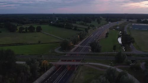 Aerial View of German Autobahn Freeway at Sunset