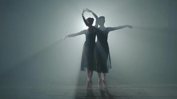 Thumbnail for Two Graceful Professional Ballerinas Dancing on Her Pointe Ballet Shoeses
