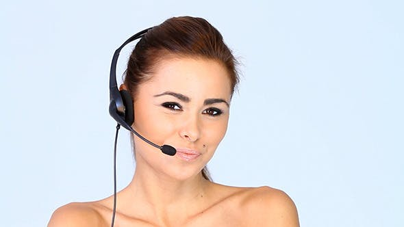 Adorable Young Brunette Lady With Headset