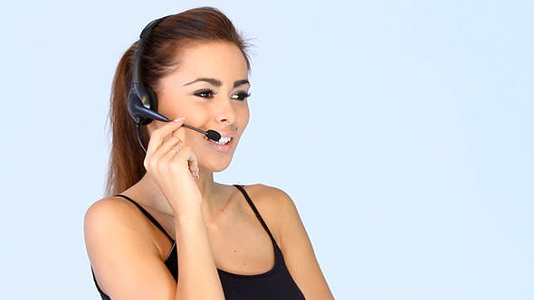 Thumbnail for Beautiful Young Brunette Lady Using Headset