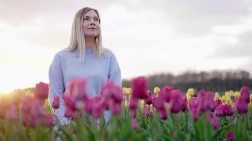 Beautiful Woman Sitting Alone in Pink Tulips Field