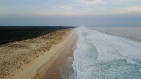 Thumbnail for Aerial shot over Mimizan beach