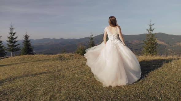 Cover Image for Beautiful and Lovely Bride in Wedding Dress Running on Mountain Slope