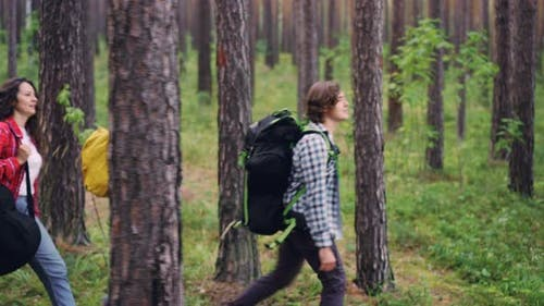 Pretty Girl Guitarist Is Hiking with Friends and Carrying Guitar Gig Bag Walking in Forest with