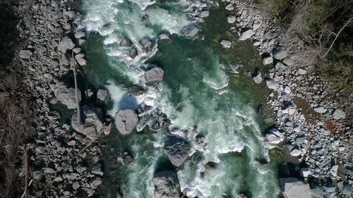 Aerial Following Green River Rocky Rapids