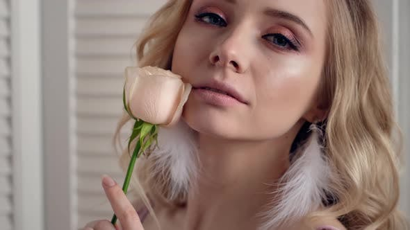 Thumbnail for Sexy Romantic Woman Portrait With Rose Flower