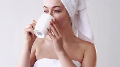 Morning Inspiration Spa Therapy Woman Drinking Tea