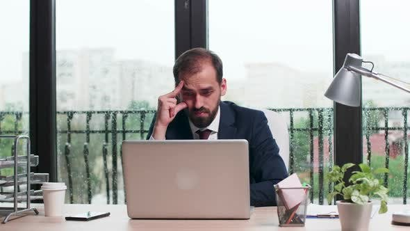 Thumbnail for Concentrated Corporate Worker in Business Suit Reads an Email