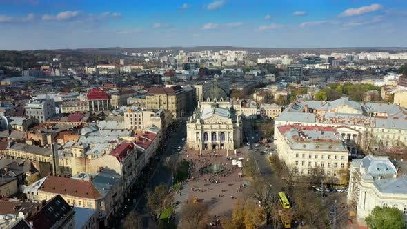Thumbnail for Aerial View of Lviv Opera and Balet Theatre in Lviv Old City Center. Ukraine, Europe
