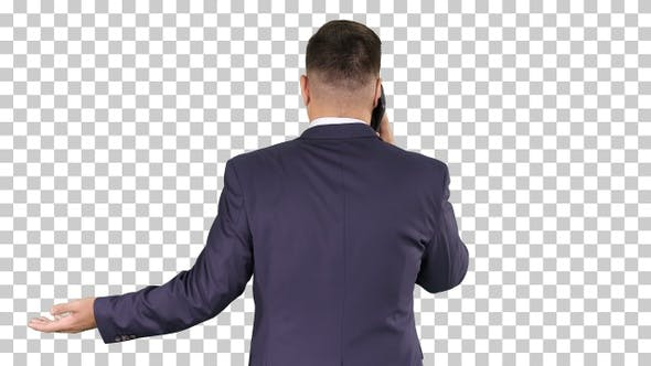 Thumbnail for Businessman with Smartphone, Making a Phone Call, Alpha Channel