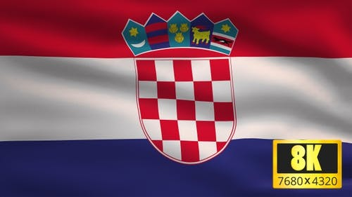8K Croatia Windy Flag Background