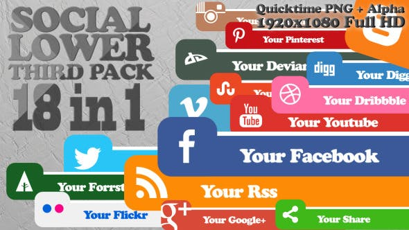 Thumbnail for Social Lower Third Pack 1