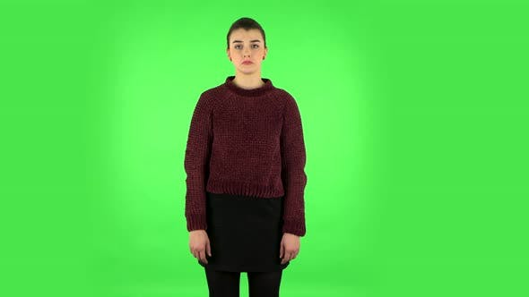 Thumbnail for Pretty Girl Is Very Offended. Green Screen