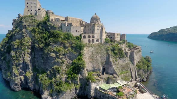 Thumbnail for Beautiful Aragonese Castle Near Ischia Island Surrounded by Turquois Gulf Water