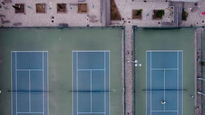 Players On The Tennis Courts Aerial